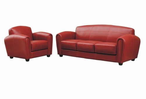 Leather Sofa Set - 2 Piece with Sofa and Chair in Red - A3007-J067-2PC