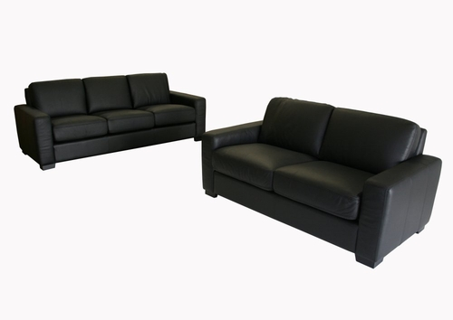 Leather Sofa Set - 2 Piece with Sofa and Loveseat in Black - 830-M9812-2PC