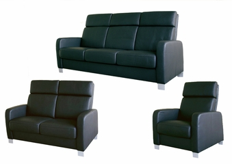 Leather Sofa Set - 3 Piece in Black - 1039-3PC-BLK