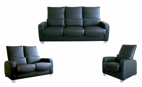 Leather Sofa Set - 3 Piece in Black - 1050-3PC-BLK
