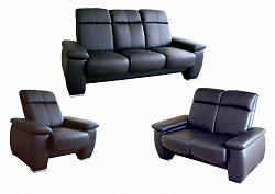 Leather Sofa Set - 3 Piece in Black - 1090-3PC-BLK