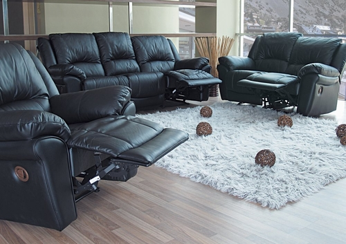 Leather Sofa Set - 3 Piece in Black Leather - Coaster