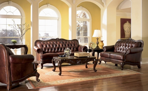 Leather Sofa Set - 3 Piece in Brown Tri-Tone Leather - Coaster