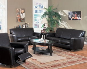 Leather Sofa Set - 3 Piece in Dark Brown Leather - Coaster