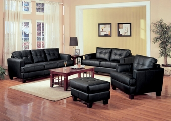 Leather Sofa Set - 4 Piece in Black Leather - Coaster