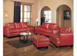 Leather Sofa Set - 4 Piece in Red Leather - Coaster
