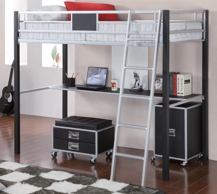 LeClair Black and Silver Twin Loft Bed - 460281