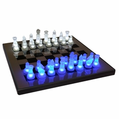 LED Glow Chess Set Blue/White - LumiSource - SUP-LEDCHES-BW
