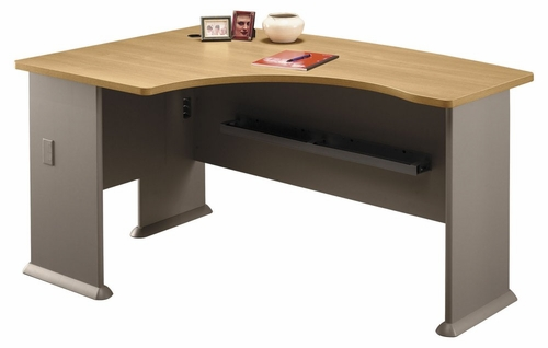 Left Side Bow Desk- Series A Light Oak Collection - Bush Office Furniture - WC64333