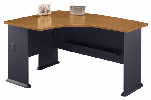 Left Side Bow Desk- Series A Natural Cherry Collection - Bush Office Furniture - WC57433