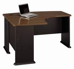 Left Side Bow Desk- Series A Walnut Collection - Bush Office Furniture - WC25533