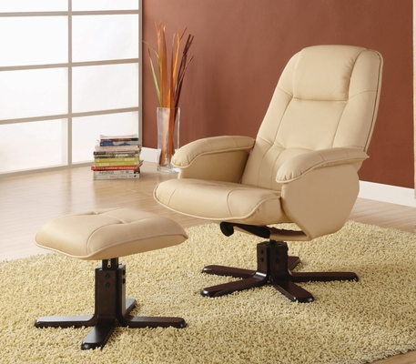 Leisure Chair and Ottoman in Ivory Leather Match - Coaster