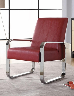 Leisure Chair in Red with Metal Arms - 900313