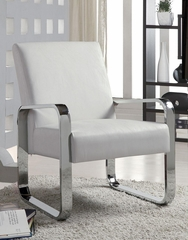 Leisure Chair in White with Metal Arms - 900316