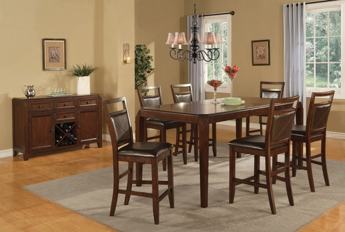 Lenox 8-Piece Counter Height Table Set in Medium Brown - Coaster - 102168-9-DSET