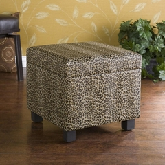 Leopard Faux Leather Storage Ottoman - Holly and Martin