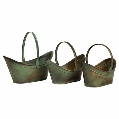 Leva Copper Verdigris Flower Bucket with Handle (Set of 3) - IMAX - 44110-3