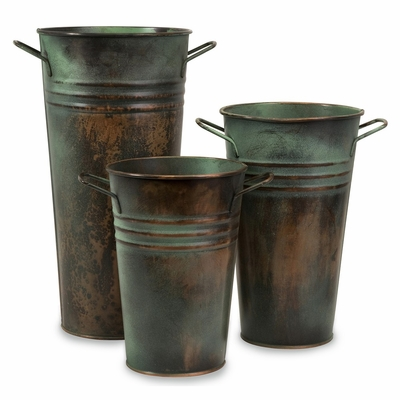 Leva Copper Verdigris Vase (Set of 3) - IMAX - 44122-3