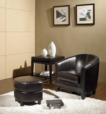 Lexington Leather Armchair and Ottoman Set - Abbyson Living - LI-HT268-2PC