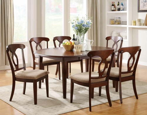 Liam 7-Piece Oval Top Table Set in Cherry - 102991