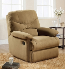 Light Brown Microfiber Glider Recliner - Arcadia - 00634