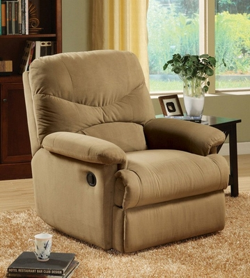 Light Brown Microfiber Recliner - Arcadia - 00627
