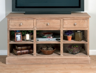 "Light Driftwood Slat Side 52"" Media Unit with Storage - 049-9"