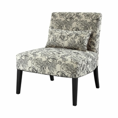 Lila Armless Chair with Black and White Floral - Powell Furniture - POWELL-528-630