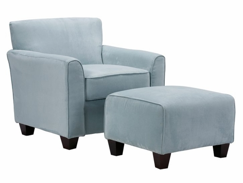 Lincoln Park Chair and Ottoman in Microfiber Sky - Handy Living - LPK1-CU-AAA52