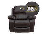 Lindenwood University Lions Brown Leather Rocker Recliner  - MEN-DA3439-91-BRN-41048-EMB-GG