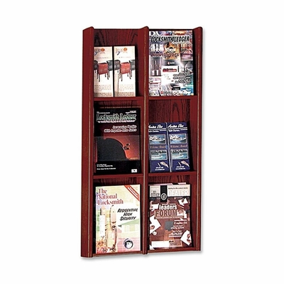 Literature Display Rack - Clear Acrylic/Medium Cherry - BDY064217