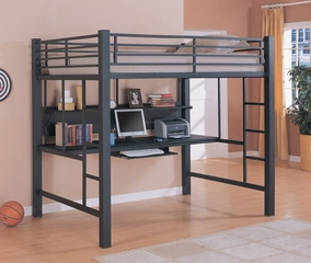 Loft Bed - 3 Inch Full Size Workstation Loft Bunk Bed in Black - Coaster