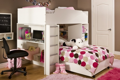 Loft Bed in in Pure White - South Shore Furniture - 3360-LBED