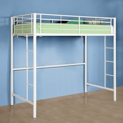 Loft Bed - Sunrise Metal Twin Size Loft Bunk Bed in White - BTOLWH