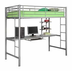 Loft Bed - Sunrise Metal Twin Size Workstation Loft Bunk Bed in Silver - BTOZSL