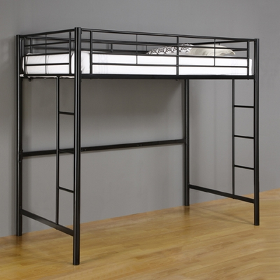 Loft Bed - Sunset Metal Twin Size Loft Bunk Bed in Black - BTOLBL