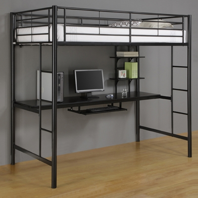 Loft Bed - Sunset Metal Twin Size Workstation Loft Bunk Bed in Black - BTOZBL