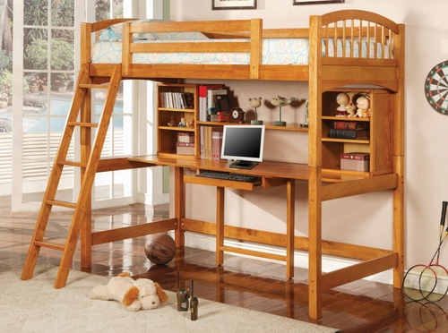 Loft Bed - Twin Size Workstation Loft Bunk Bed in Warm Light Brown - Coaster