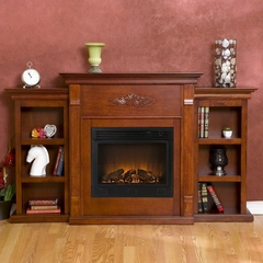 Logan Electric Fireplace with Bookcases in Mahogany - Holly and Martin