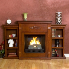 Logan Gel Fuel Fireplace with Bookcases in Mahogany - Holly and Martin