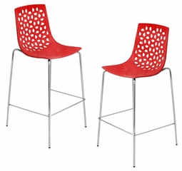 Lola Barstool - Red (Set of 2) - LumiSource - BS-KN-LOLA-R2