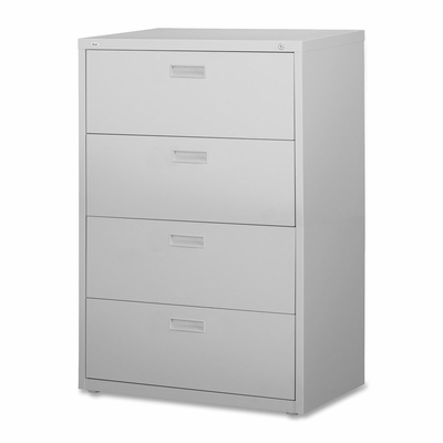 Lorell 4-Drawer Lateral Filing Cabinet in Light Gray - LLR60561