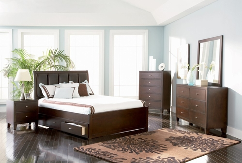 Lorretta Eastern King Size Bedroom Furniture Set in Deep Brown - Coaster - 201511KE-BSET