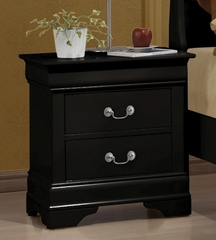 Louis Philippe 2 Drawer Nightstand in Black - 203962