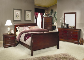 Louis Philippe California King Size Bedroom Furniture Set in Cherry - Coaster - 200431KW-BSET
