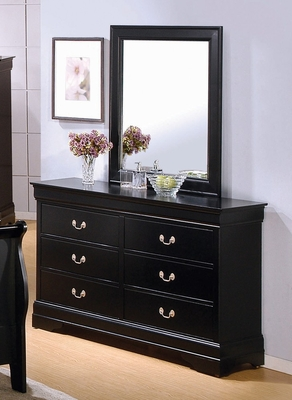 Louis Philippe Dresser with Mirror in Deep Black - Coaster - 201073-74-SET