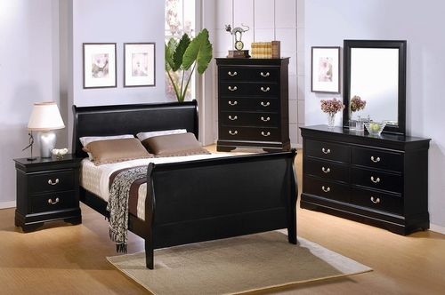 Louis Philippe Queen Size Bedroom Furniture Set in Deep Black - Coaster - 201071Q-BSET