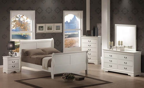 Louis Philippe Queen Size Bedroom Furniture Set in White - Coaster - 201691Q-BSET