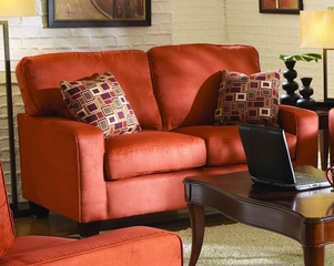 Loveseat 8-Way-Hand-Tied in Coral Red Microfiber - 9837RD-2