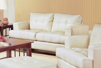 Loveseat in Cream Leather - Coaster